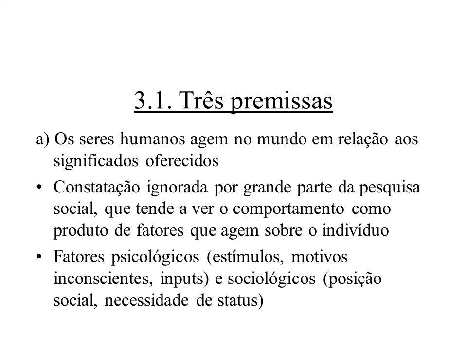3.1. Três premissas a) Os seres humanos agem no mundo em relação aos significados oferecidos.
