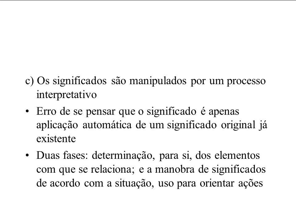 c) Os significados são manipulados por um processo interpretativo