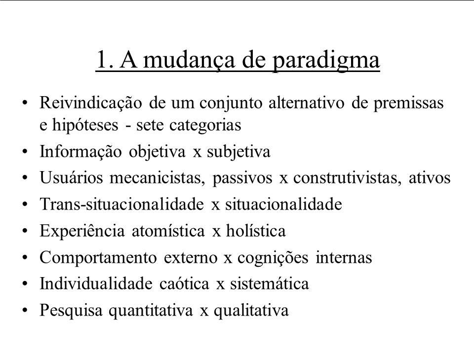 1. A mudança de paradigma Reivindicação de um conjunto alternativo de premissas e hipóteses - sete categorias.