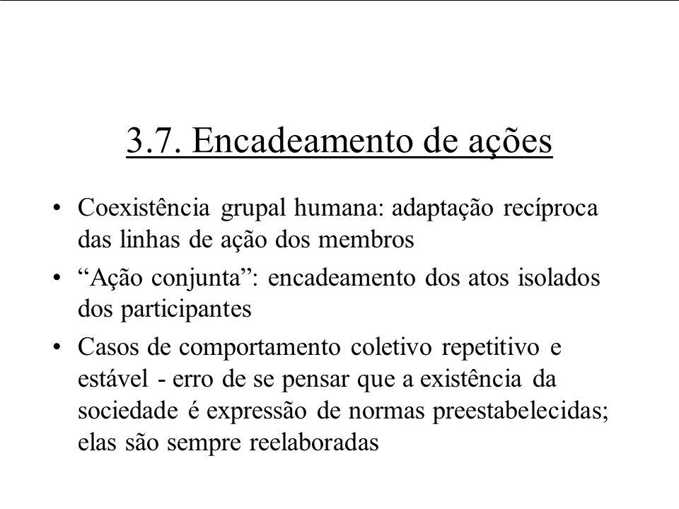 3.7. Encadeamento de ações Coexistência grupal humana: adaptação recíproca das linhas de ação dos membros.