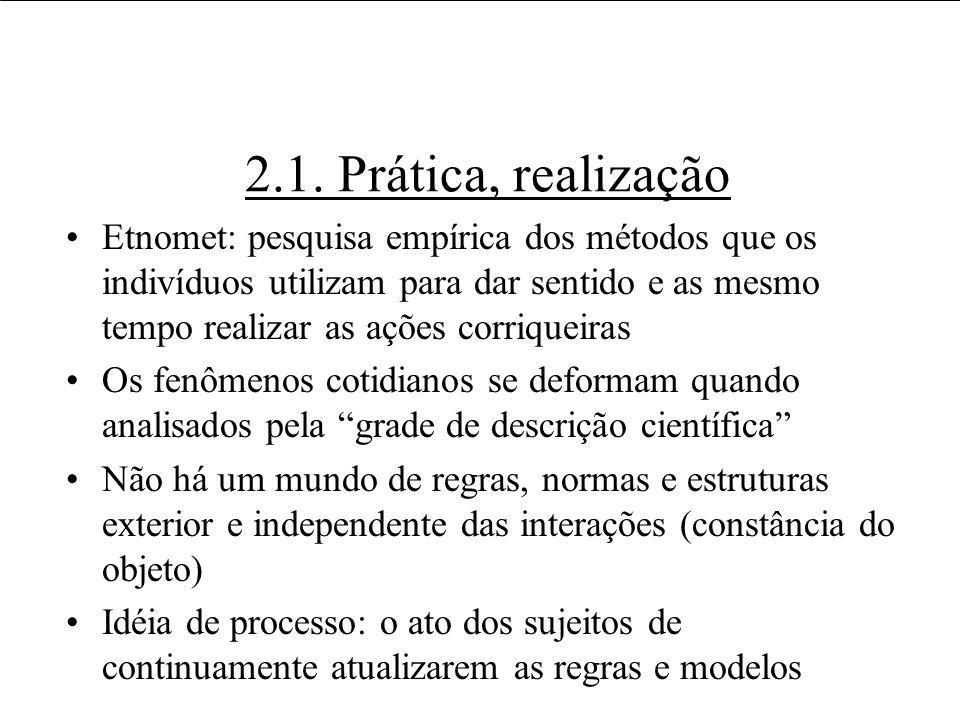2.1. Prática, realização