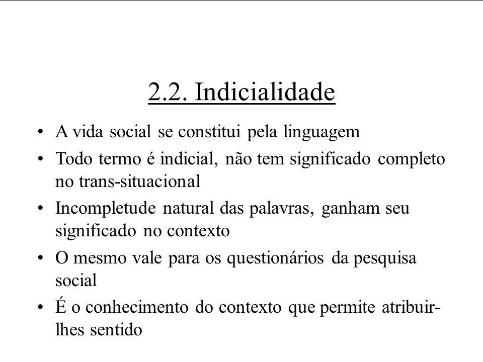2.2. Indicialidade A vida social se constitui pela linguagem