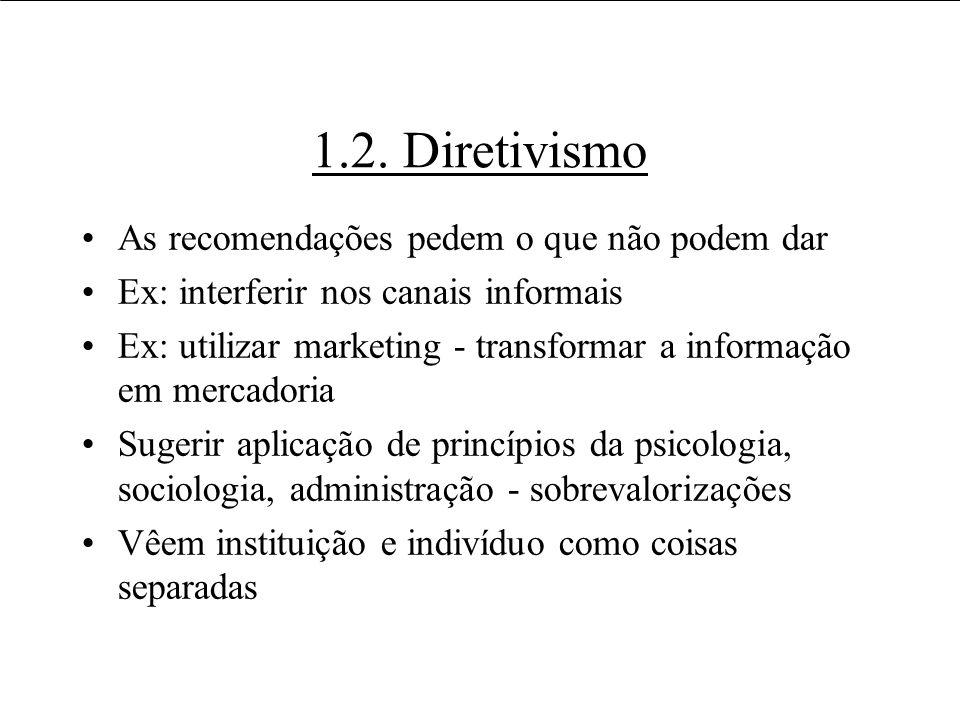 1.2. Diretivismo As recomendações pedem o que não podem dar