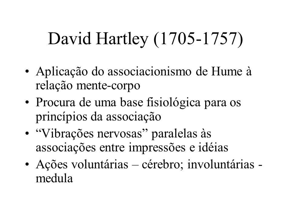 David Hartley (1705-1757) Aplicação do associacionismo de Hume à relação mente-corpo.