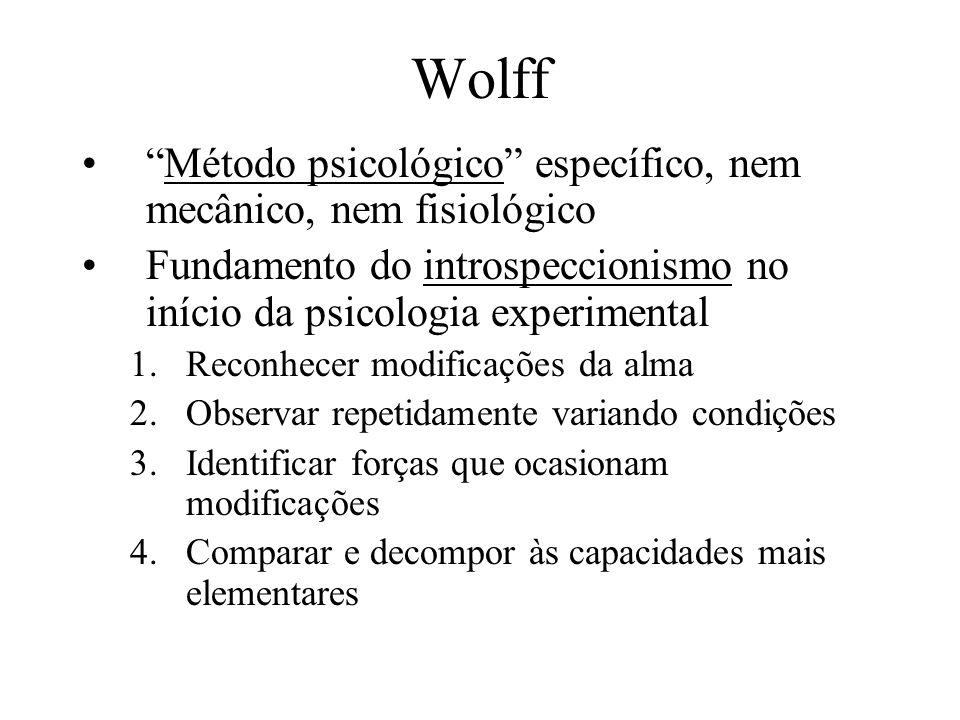 Wolff Método psicológico específico, nem mecânico, nem fisiológico