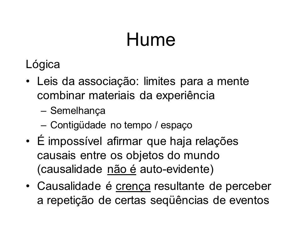 Hume Lógica. Leis da associação: limites para a mente combinar materiais da experiência. Semelhança.