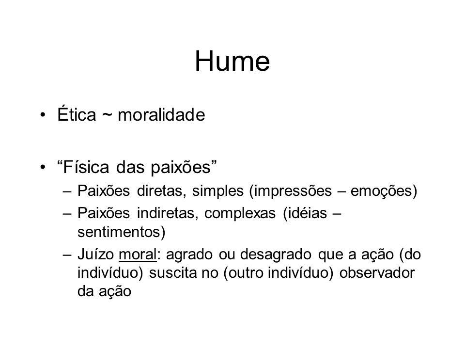 Hume Ética ~ moralidade Física das paixões