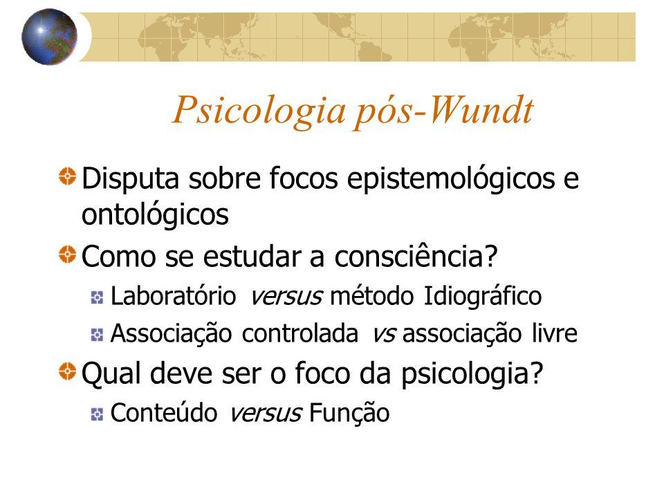 Psicologia pós-Wundt Disputa sobre focos epistemológicos e ontológicos