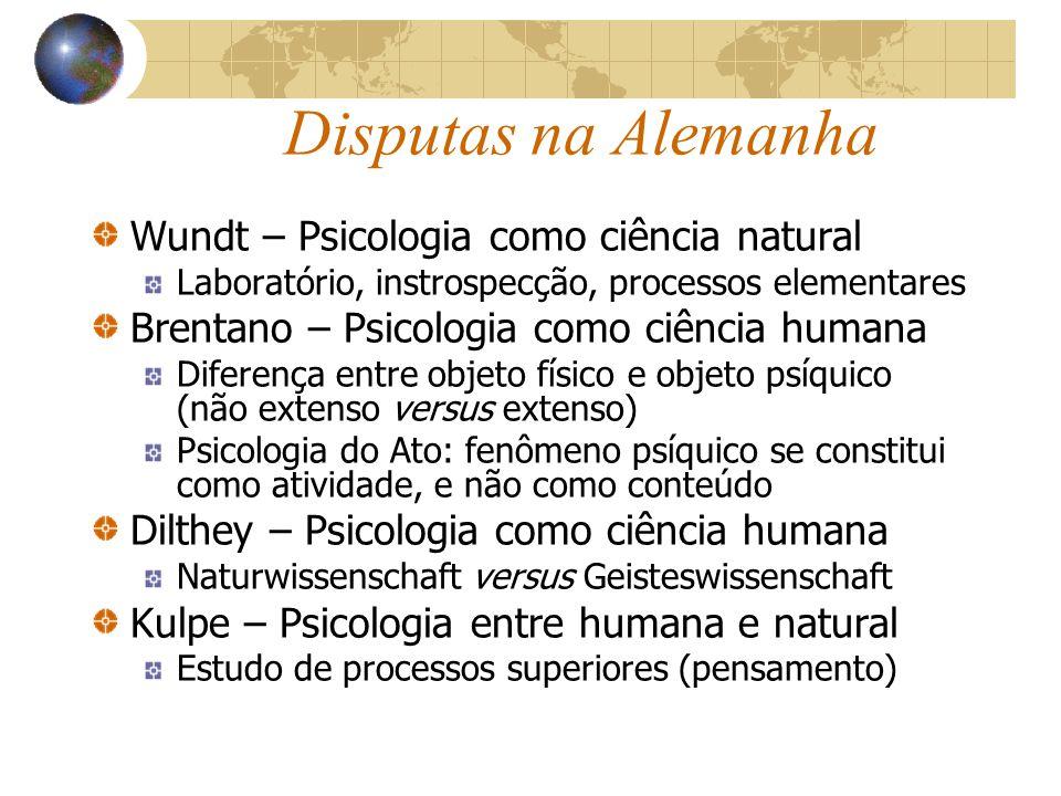 Disputas na Alemanha Wundt – Psicologia como ciência natural