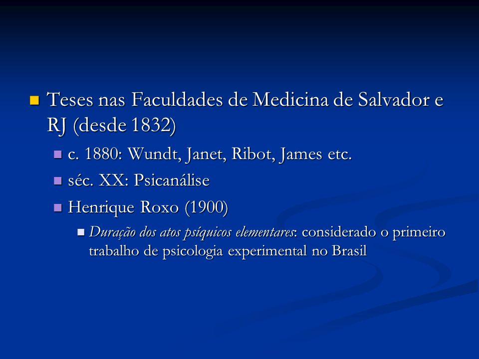Teses nas Faculdades de Medicina de Salvador e RJ (desde 1832)