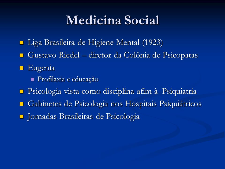Medicina Social Liga Brasileira de Higiene Mental (1923)