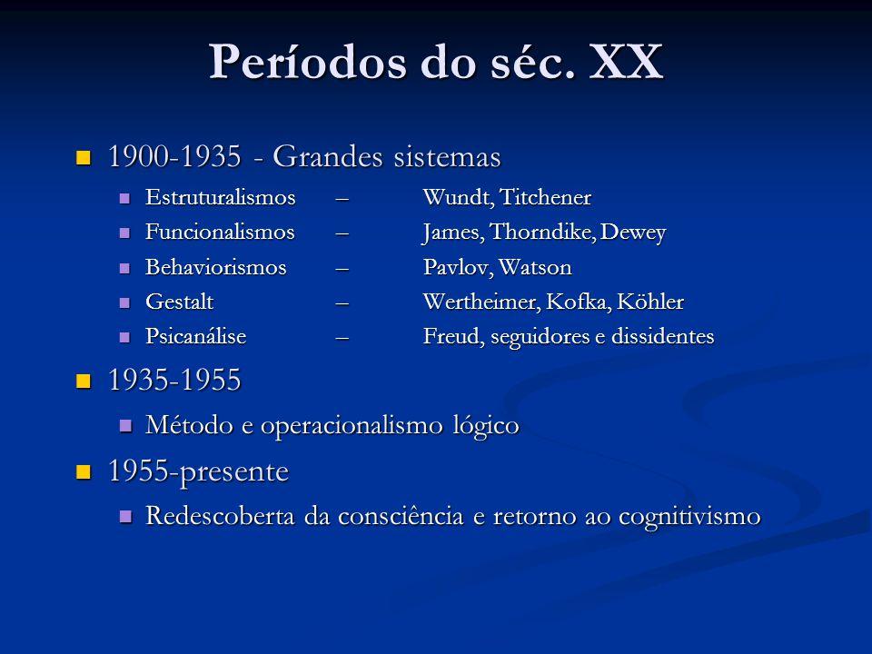 Períodos do séc. XX 1900-1935 - Grandes sistemas 1935-1955