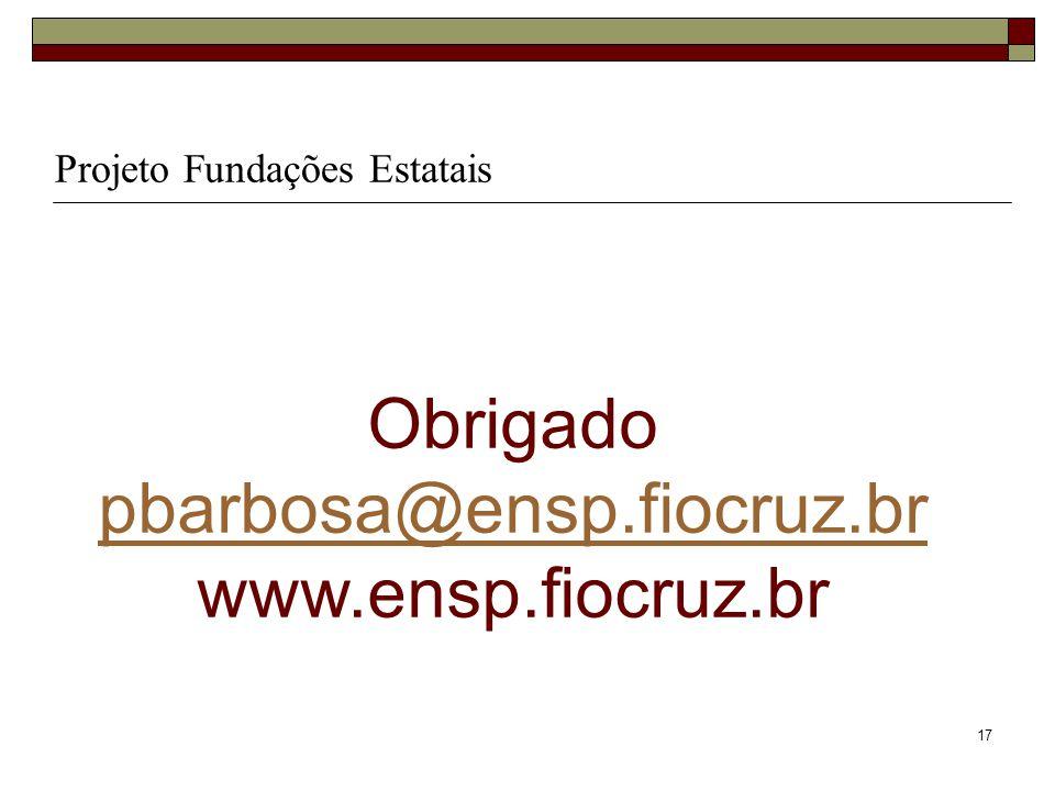 Obrigado pbarbosa@ensp.fiocruz.br www.ensp.fiocruz.br