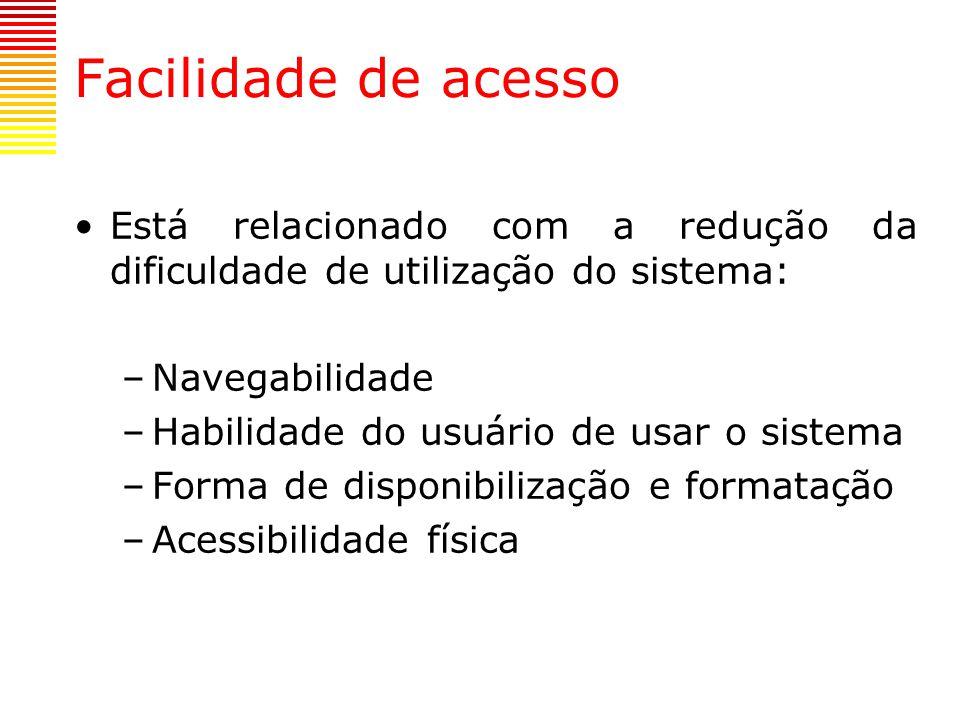 Facilidade de acesso Está relacionado com a redução da dificuldade de utilização do sistema: Navegabilidade.