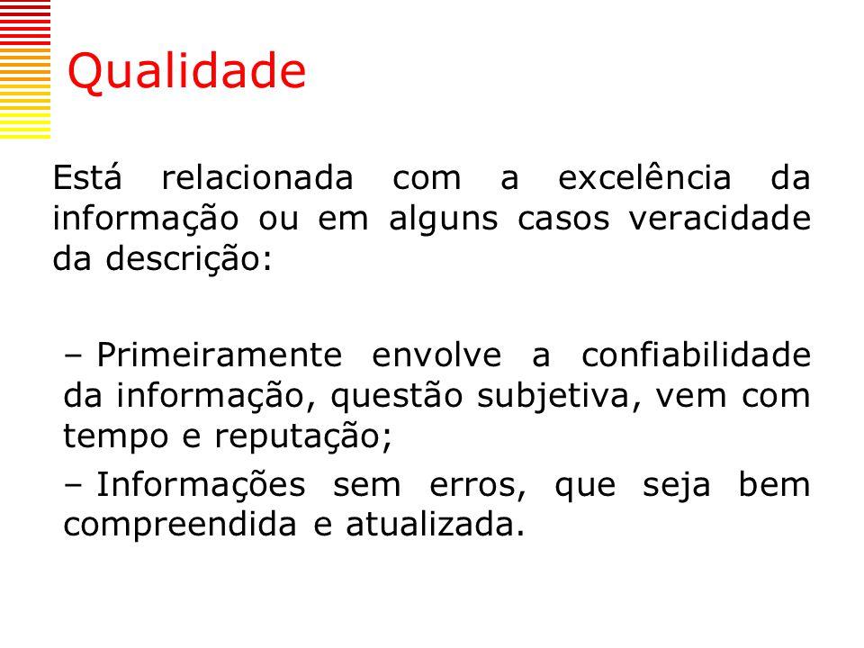 Qualidade Está relacionada com a excelência da informação ou em alguns casos veracidade da descrição: