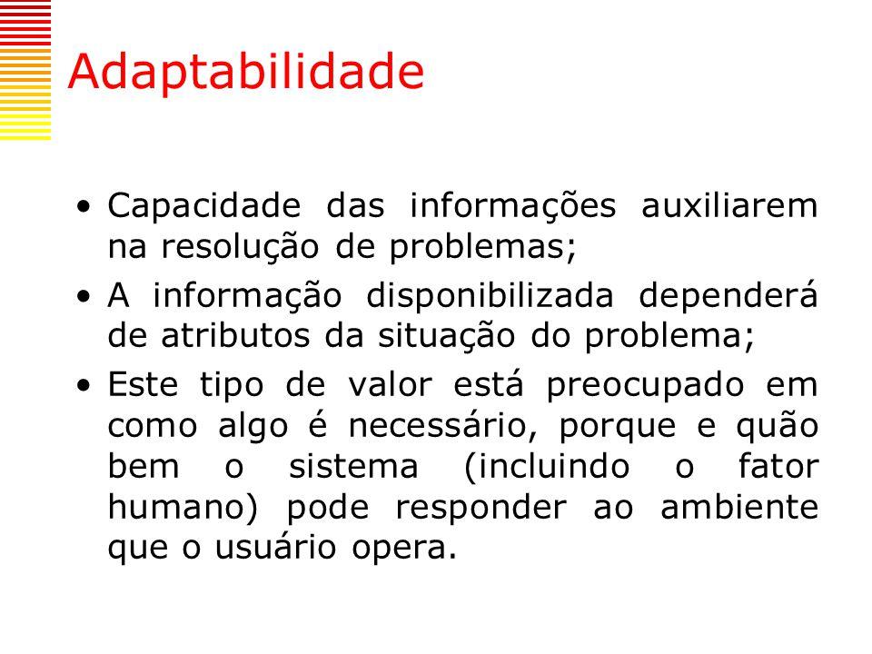 Adaptabilidade Capacidade das informações auxiliarem na resolução de problemas;