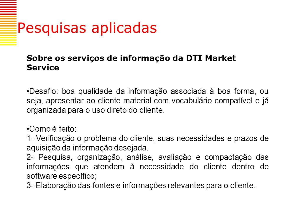 Pesquisas aplicadas Sobre os serviços de informação da DTI Market Service.