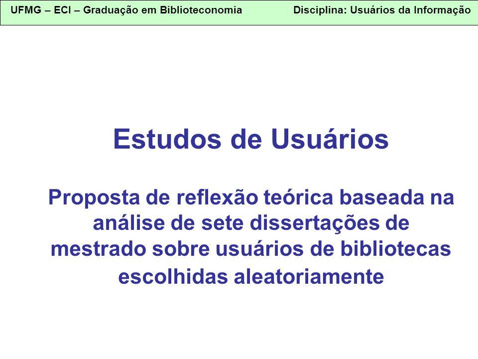 Estudos de Usuários Proposta de reflexão teórica baseada na análise de sete dissertações de mestrado sobre usuários de bibliotecas escolhidas aleatoriamente