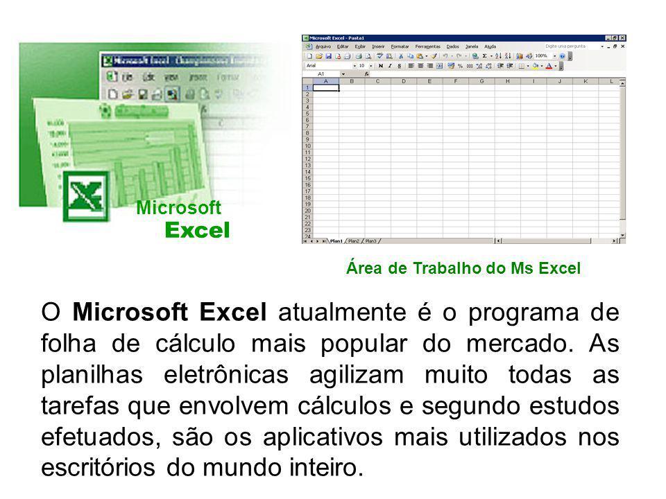 Microsoft Excel. Área de Trabalho do Ms Excel.