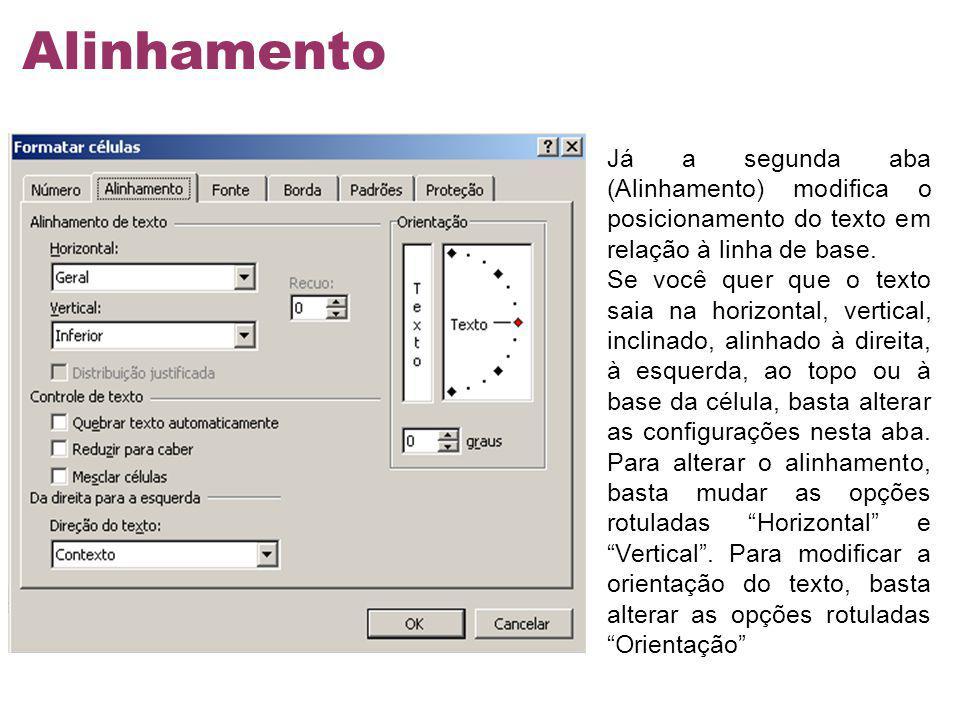Alinhamento Já a segunda aba (Alinhamento) modifica o posicionamento do texto em relação à linha de base.