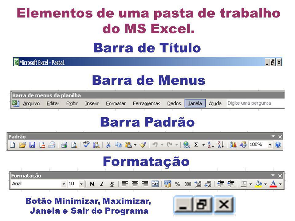 Elementos de uma pasta de trabalho do MS Excel.