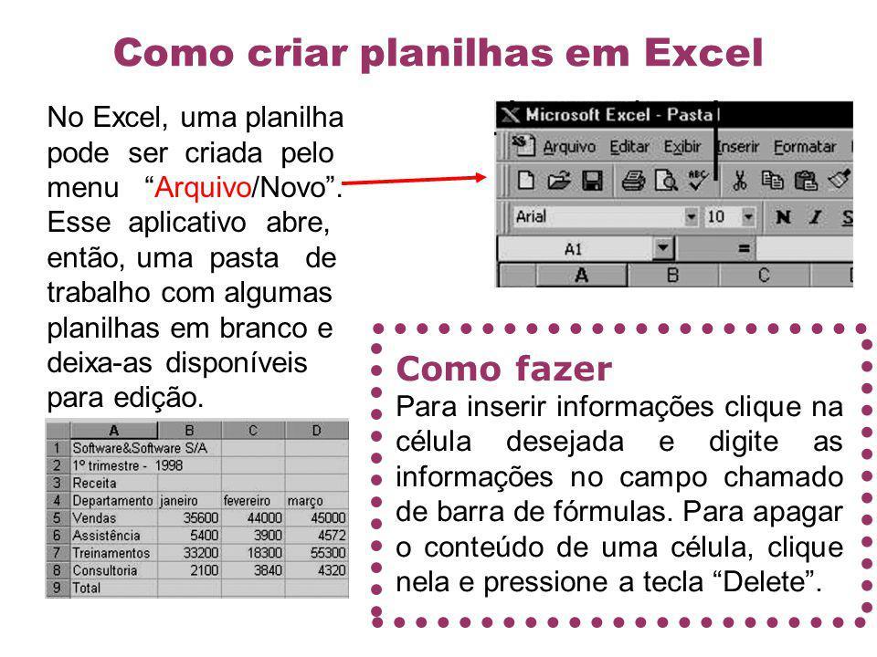 Como criar planilhas em Excel