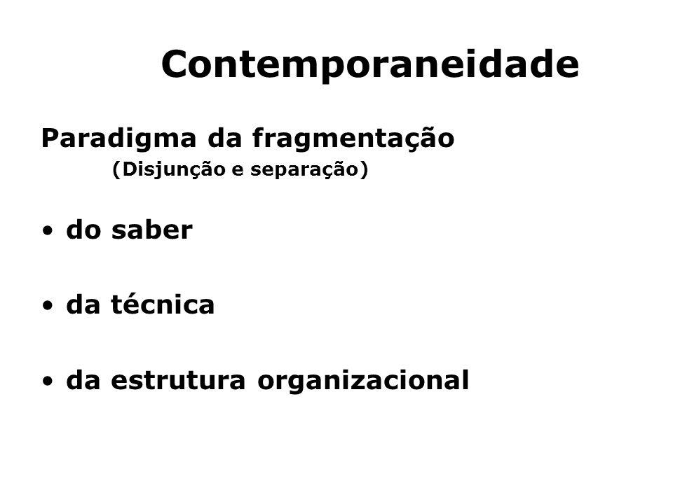 Contemporaneidade Paradigma da fragmentação do saber da técnica