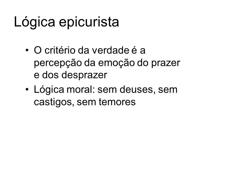 Lógica epicurista O critério da verdade é a percepção da emoção do prazer e dos desprazer.