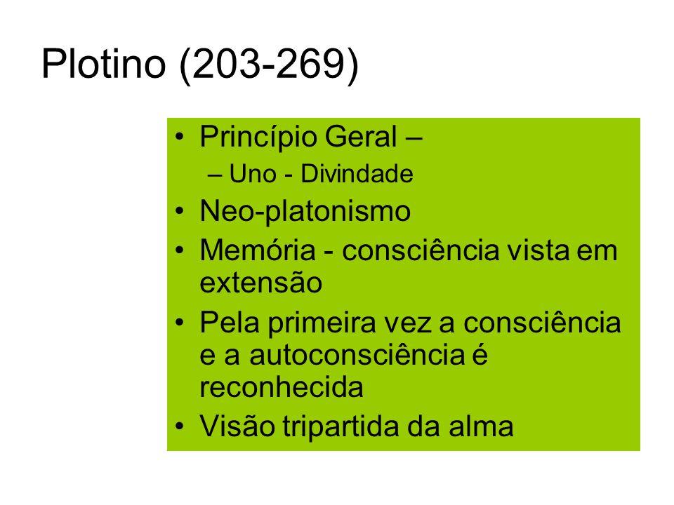 Plotino (203-269) Princípio Geral – Neo-platonismo