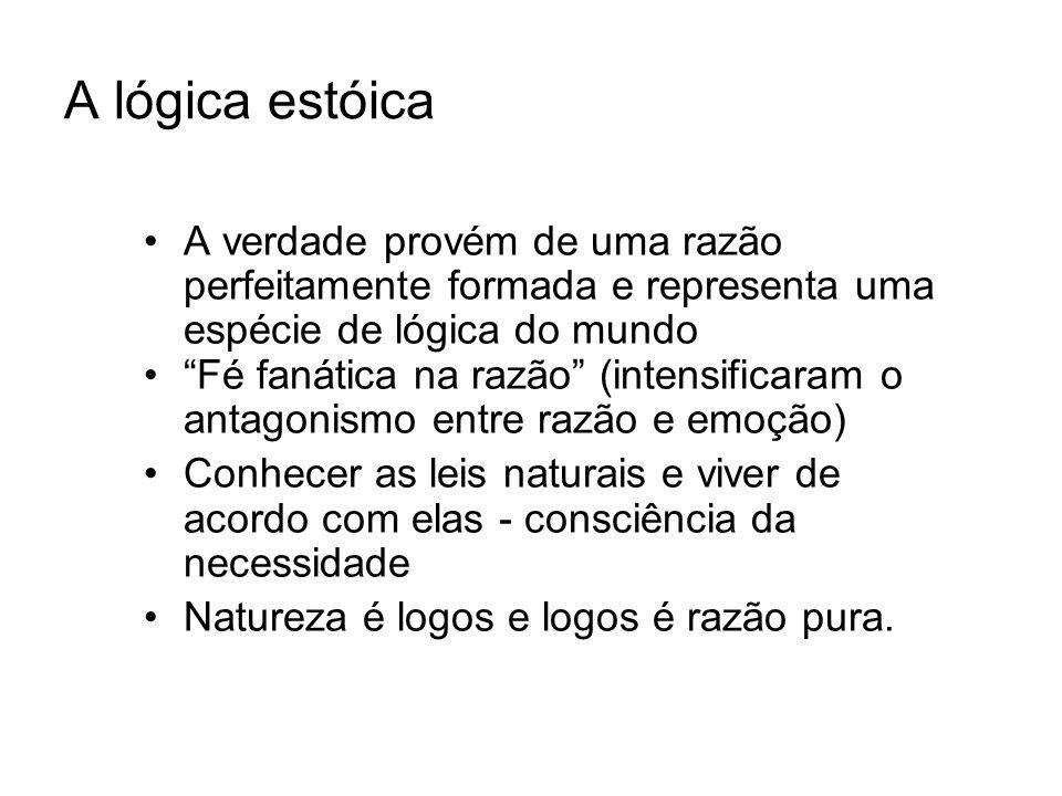 A lógica estóica A verdade provém de uma razão perfeitamente formada e representa uma espécie de lógica do mundo.