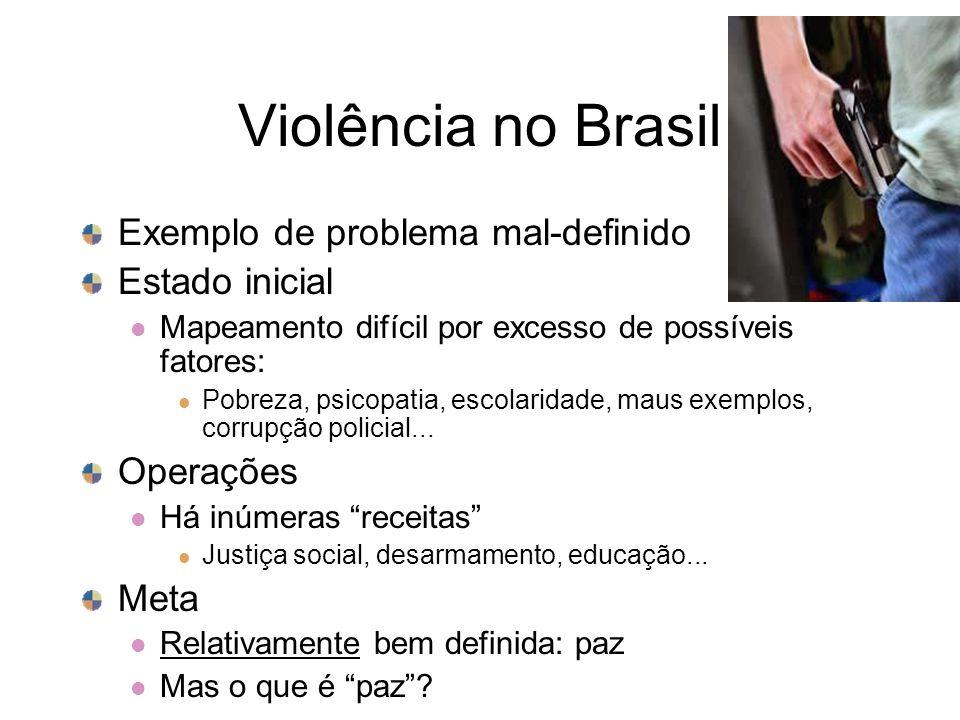 Violência no Brasil Exemplo de problema mal-definido Estado inicial