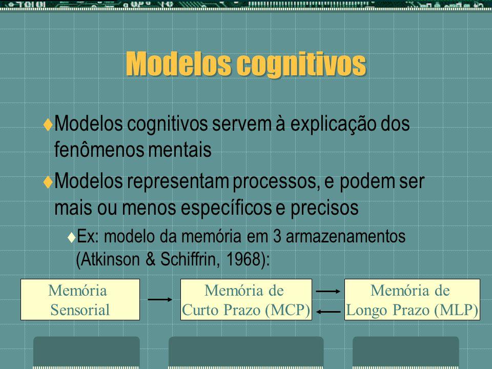 Modelos cognitivos Modelos cognitivos servem à explicação dos fenômenos mentais.