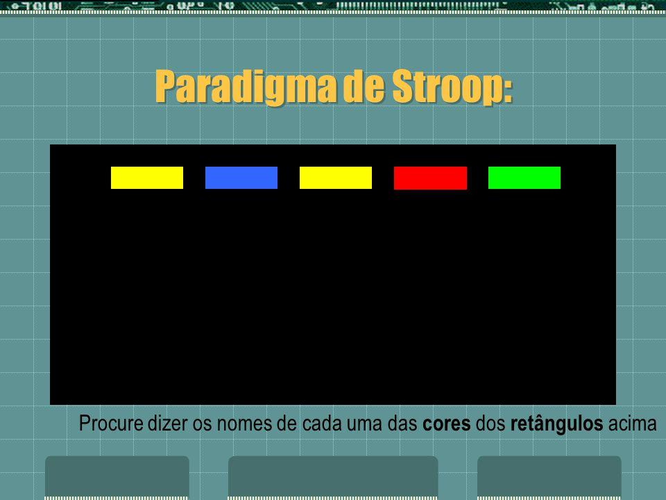 Paradigma de Stroop: azul roxo azul verde vermelho amarelo
