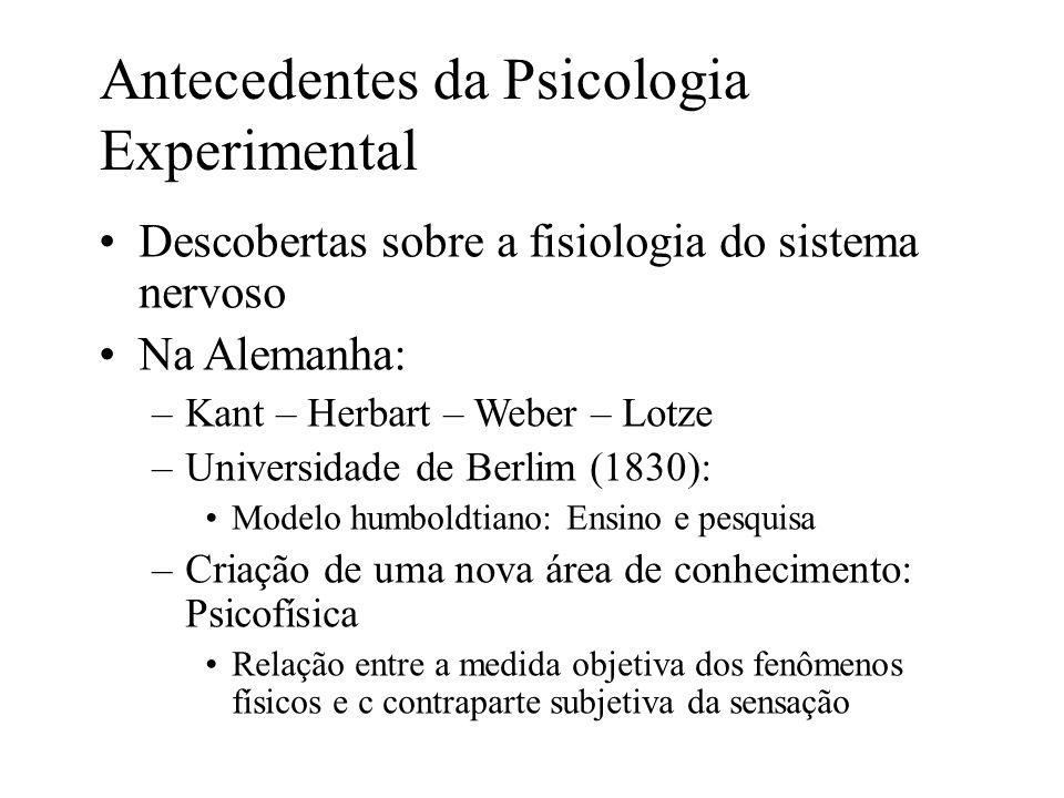 Antecedentes da Psicologia Experimental