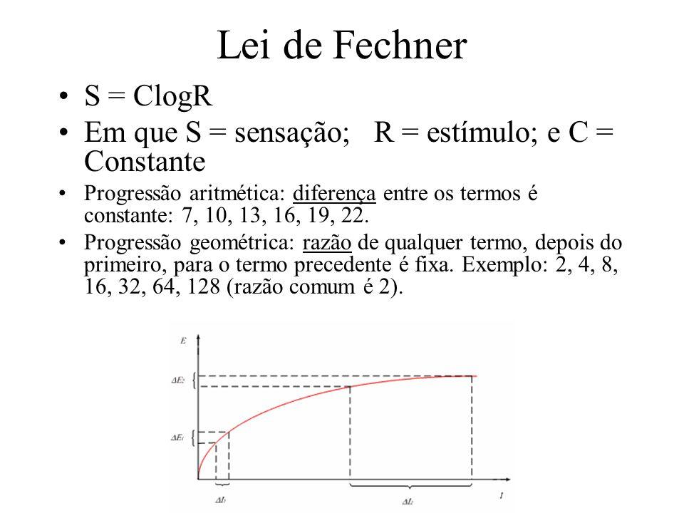Lei de Fechner S = ClogR. Em que S = sensação; R = estímulo; e C = Constante.