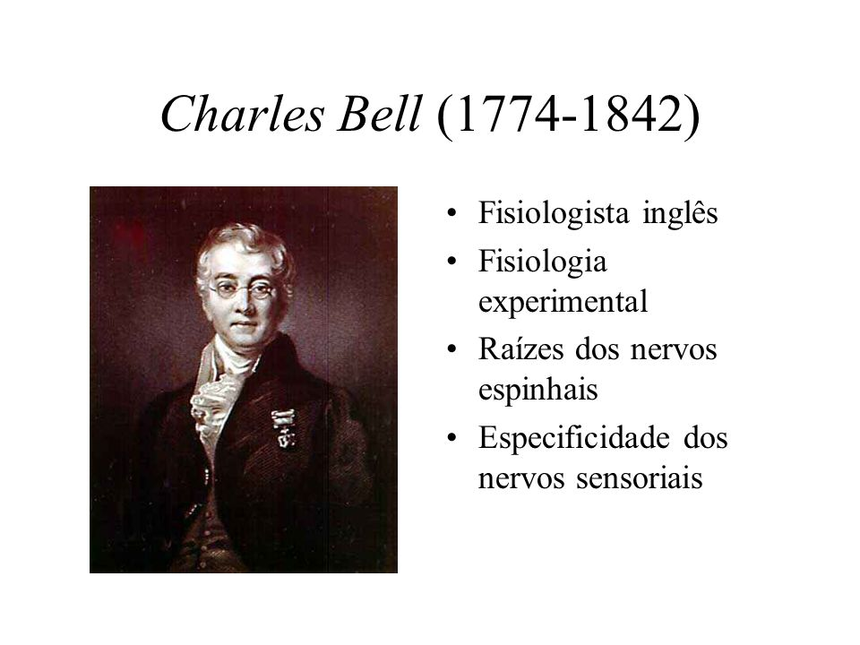 Charles Bell (1774-1842) Fisiologista inglês Fisiologia experimental