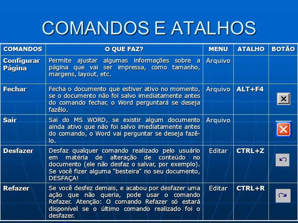 COMANDOS E ATALHOS Configurar Página Arquivo Fechar ALT+F4 Sair