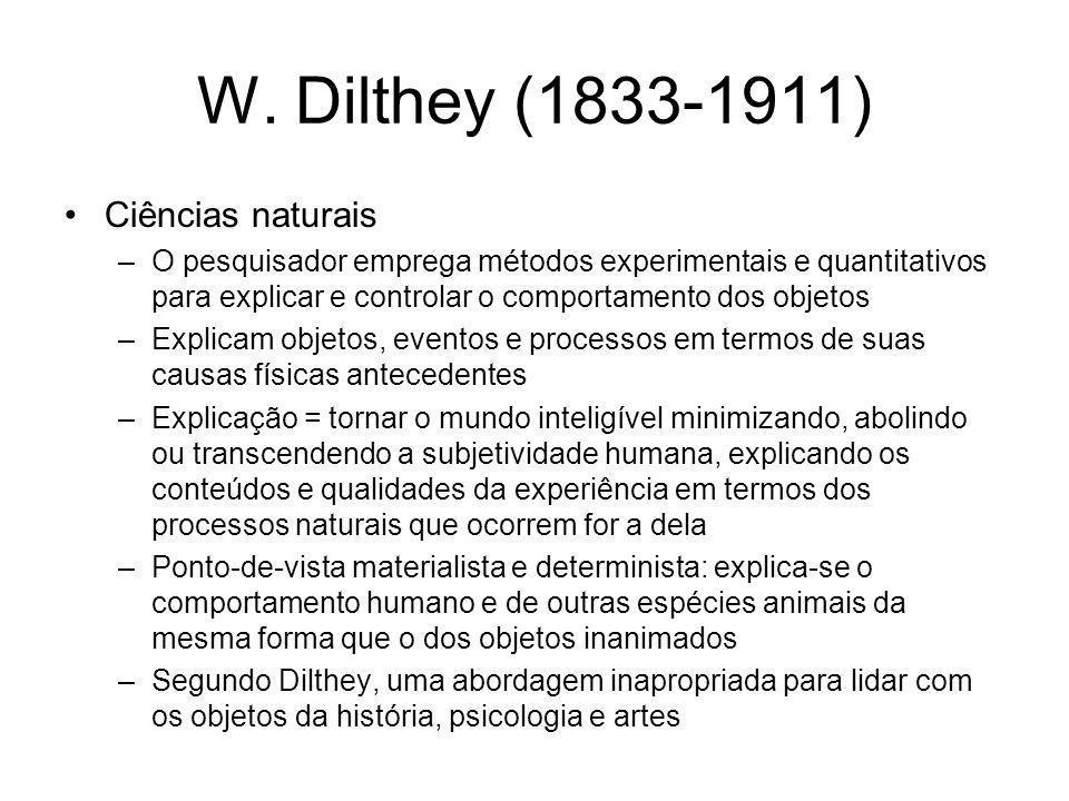 W. Dilthey (1833-1911) Ciências naturais