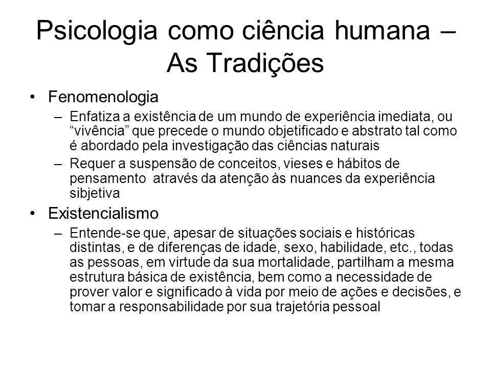 Psicologia como ciência humana – As Tradições