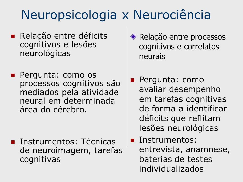 Neuropsicologia x Neurociência