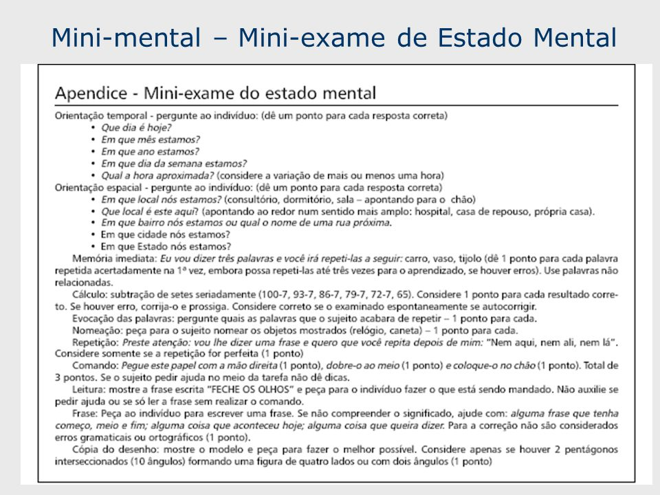 Mini-mental – Mini-exame de Estado Mental