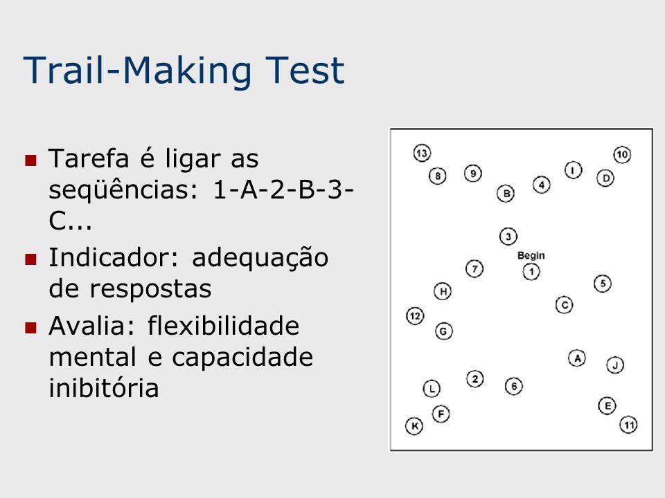 Trail-Making Test Tarefa é ligar as seqüências: 1-A-2-B-3-C...