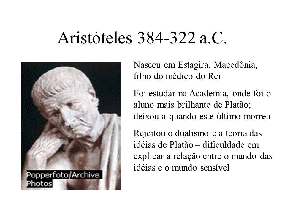 Aristóteles 384-322 a.C. Nasceu em Estagira, Macedônia, filho do médico do Rei.