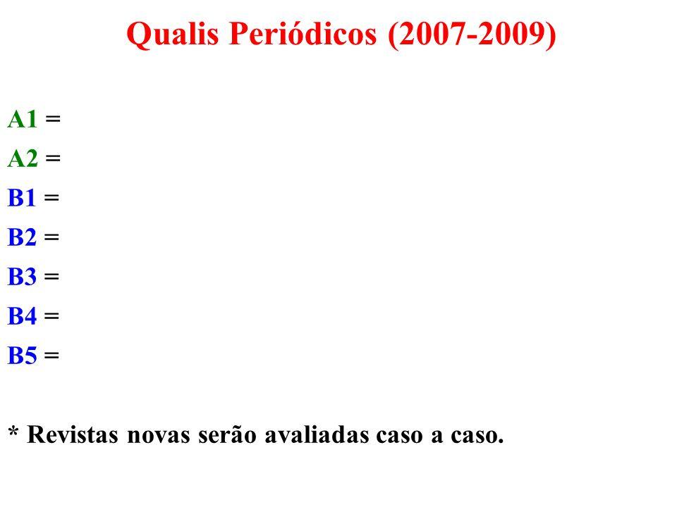 Qualis Periódicos (2007-2009) A1 = A2 = B1 = B2 = B3 = B4 = B5 =