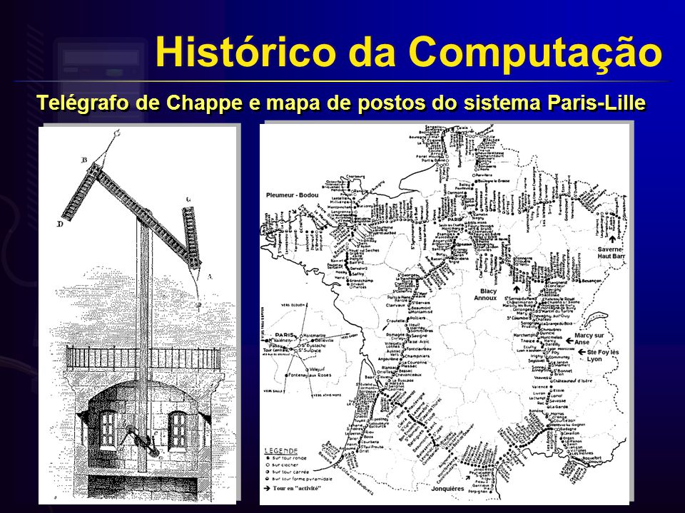 Telégrafo de Chappe e mapa de postos do sistema Paris-Lille