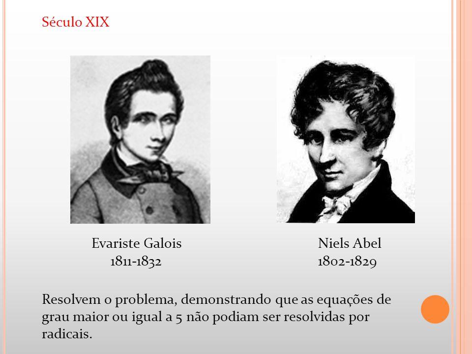 Século XIX Resolvem o problema, demonstrando que as equações de grau maior ou igual a 5 não podiam ser resolvidas por radicais.