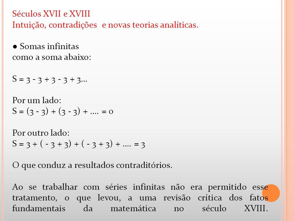 Séculos XVII e XVIII Intuição, contradições e novas teorias analíticas. ● Somas infinitas.