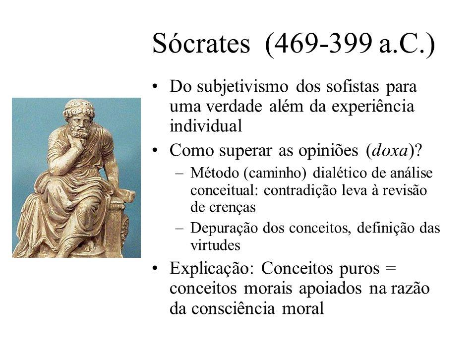 Sócrates (469-399 a.C.) Do subjetivismo dos sofistas para uma verdade além da experiência individual.