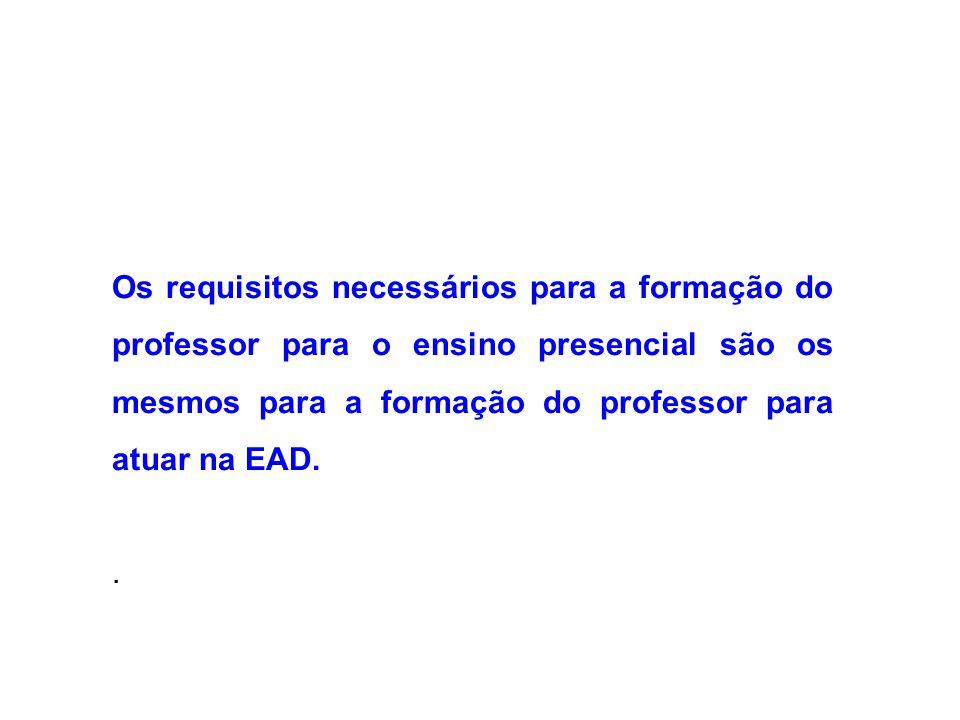 Os requisitos necessários para a formação do professor para o ensino presencial são os mesmos para a formação do professor para atuar na EAD.