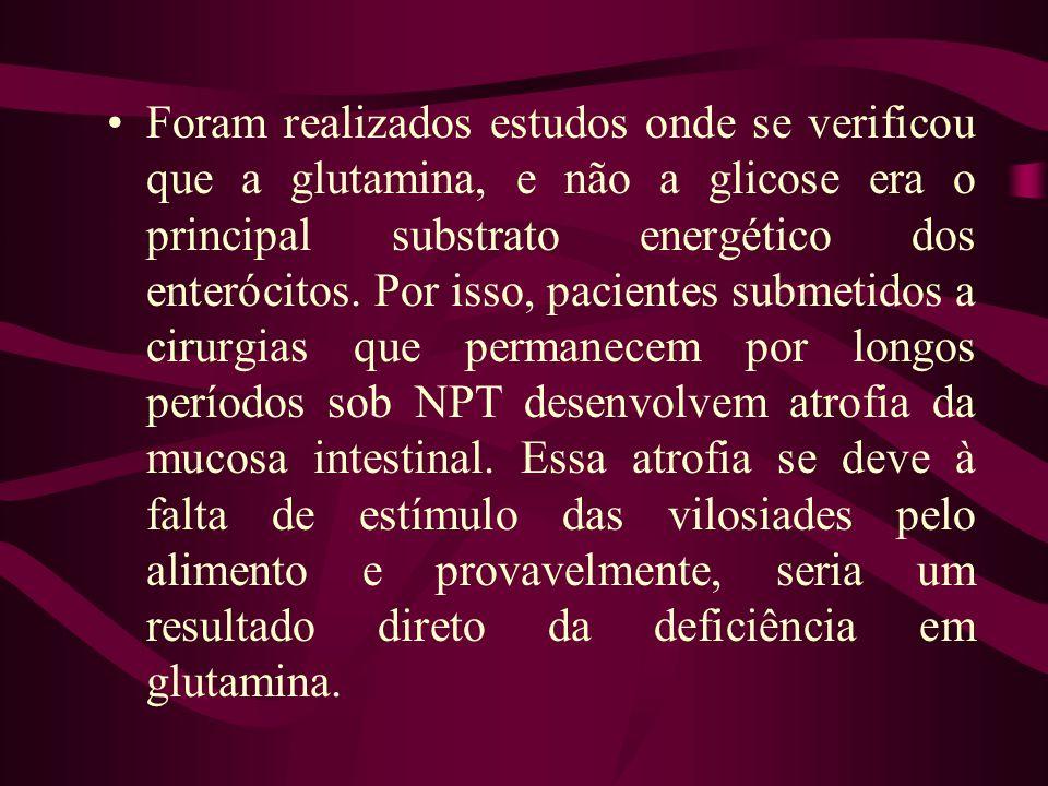 Foram realizados estudos onde se verificou que a glutamina, e não a glicose era o principal substrato energético dos enterócitos.